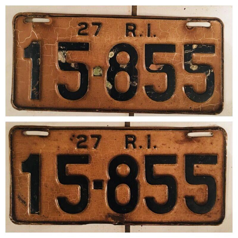 (2) 1927 Rhode Island License Plates, Plate #: 15-855
