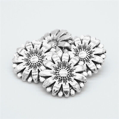 - 2Pcs Sunflower Metal Carved Antique Sewing Craft DIY Silver Shank Buttons