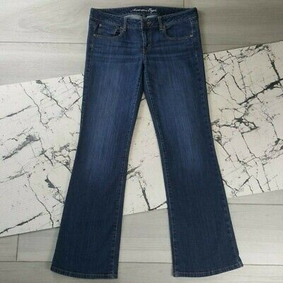 American Eagle Womens Favorite Boyfriend Jeans Size 12 Long Stretch Dark Wash ()