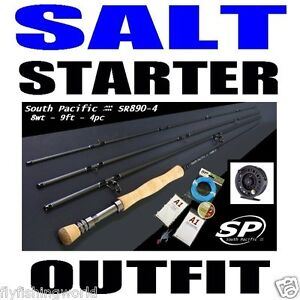 SALTWATER FLY FISHING STARTER COMBO OUTFIT rod reel line backing leader fly loop