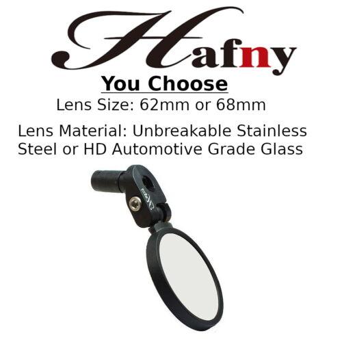 Hafny HF Bike Bar End Rear View Mirror MTB or Road Stainless Steel/ Glass MR083