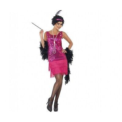 lapper Hot Pink Costume Fancy Dress 1920 Retro Dancer Womens (Hot Pink Flapper Kleid)