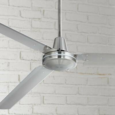 "72"" Modern Industrial Ceiling Fan Brushed Nickel with Wall Control - Lamps Plus"