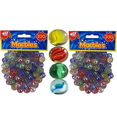 200 x Hi-Quality Sharp Colour Glass Marbles Traditional Toys Classic Kids Games