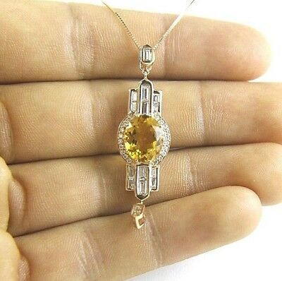 Long Oval Citrine & Diamond Cluster Necklace Pendant 14K Rose Gold 3.80Ct