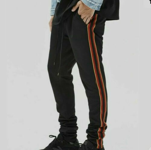 PacSun Joggers Sweat Pants  Side Stripe Black/Red/Gold