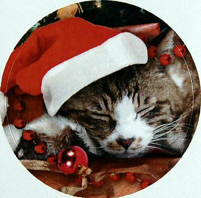CHRISTMAS SANTA KITTY KITTEN CAT SEALS STICKERS USA MADE #45 FAST - Christmas Santa Stickers