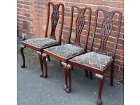 set of three victorian chippendale style mahogany chairs good restoration project