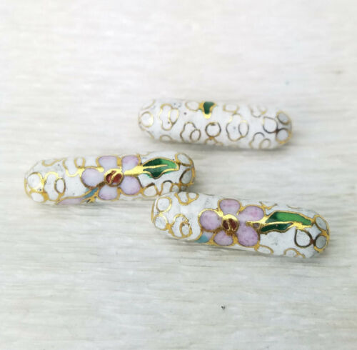 Vintage White w/ Pink Blue Flowers Cloisonne Chinese Enamel Tube 23x7mm  3PCs