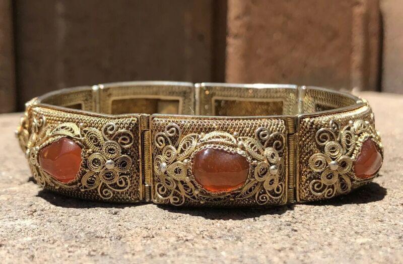 Antique Old Chinese Gilt Gold Silver Filigree Natural Carnelian Wide Bracelet