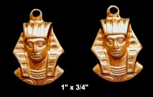 Vintage Brass Stampings Egyptian Revival/ King Tut Mask with loops   One Pair
