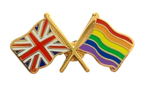 Rainbow LGBTQ & Gay Pride GB Union Jack Friendship Enamel Lapel Pin Badge