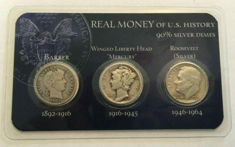 90% Silver Historic U.S. Dimes Set in Gorgeous Display, Barber Mercury Roosevelt