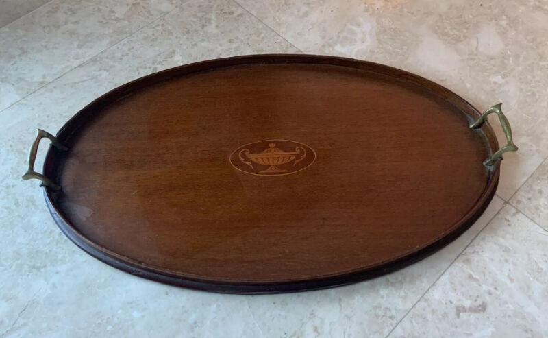 Antique English Inlaid Mahogany Wooden Tea Tray Brass Handles Butler Platter