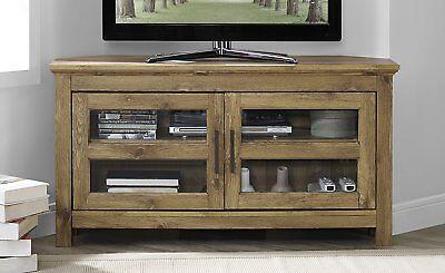 (Walker Edison 44-inch Wood Corner TV Media Stand Storage Console in Barnwood New)