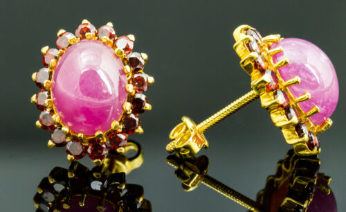Vintage 21K Yellow Gold Ruby and Garnet Earrings