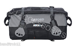 BLACK Oxford Motorcycle Aqua T50 All Weather 50L Waterproof Roll Top Bag Luggage