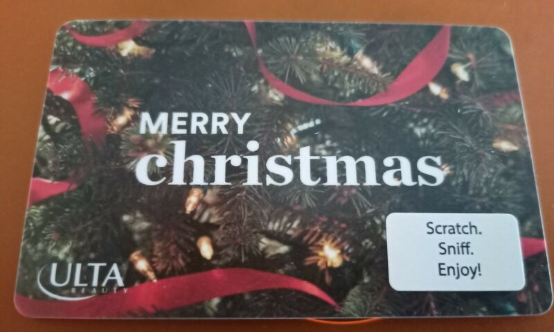 ULTA Merry Christmas Gift Card, Scratch Sniff, Collectible, Mint, 2021, PVC