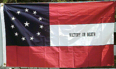 COTTON, Southern American Civil War Flag....4th Texas Infantry, Victory or Death