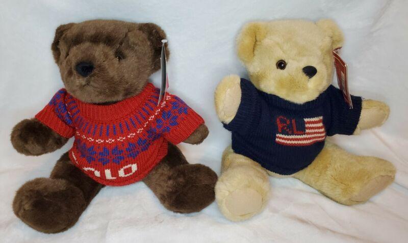 """1996/2000 Ralph Lauren Polo Teddy Bear Red Christmas Flag Sweater Plush 15"""" VTG"""