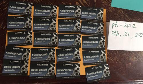 Cinemark Theatre 20 Platinum Supersaver Prepaid Movie Tickets 20  - $130.00