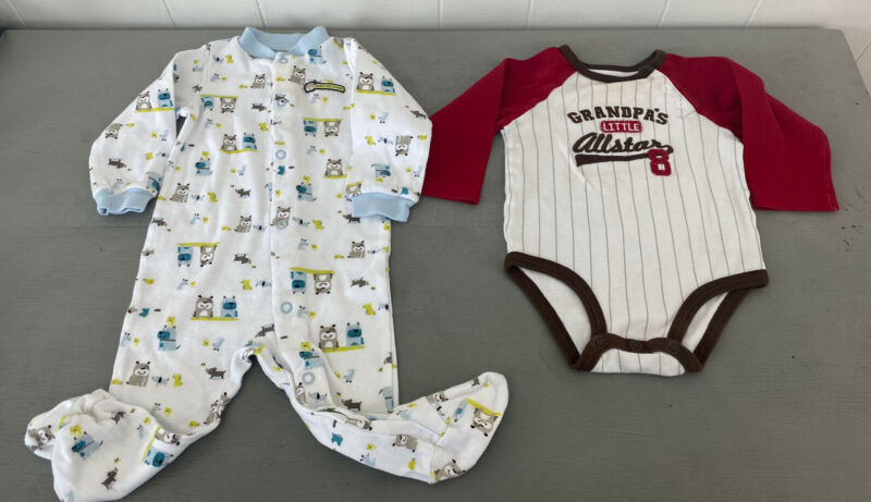 Lot Of 2 Baby Boy Clothes 9 Months Grandpa Baseball Daddy Dogs One Piece Outfits