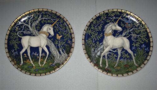 Two HUTSCHENREUTHER Porcelain Collector Plates - UNICORN IN DREAMER