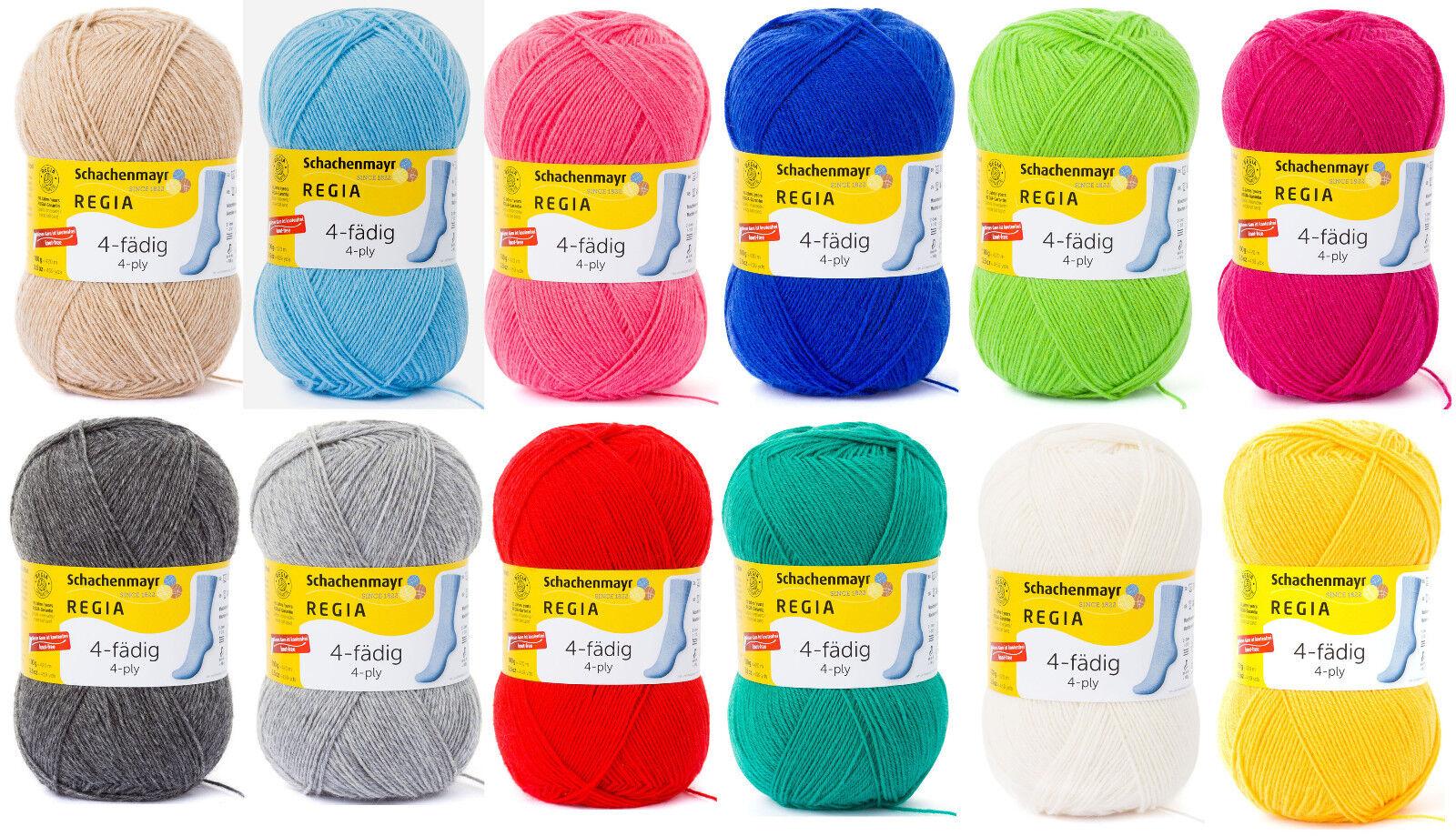 Regia Uni Sockenwolle 4-fach - AUSWAHL - einfarbig 4fädig Socken stricken á 100g
