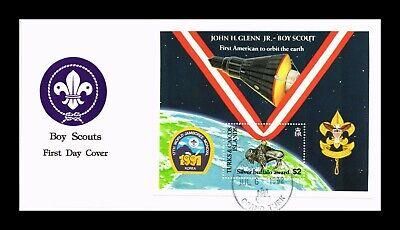 DR JIM STAMPS SPACE SCOUTS SOUVENIR SHEET TURKS AND CAICOS MONARCH SIZE COVER