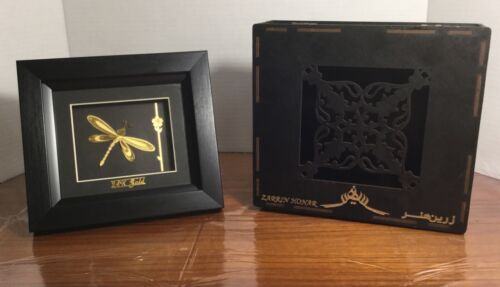 New Zarrin Honar 24k Yellow Gold Dragonfly Framed Wall Decor Picture Shadowbox