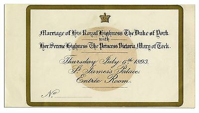 Invitation to Wedding of King George V & Mary of Teck