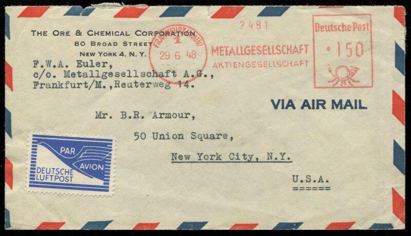 Germany American British Zone Mi FZ1 Airmail Permit Stamp Cover