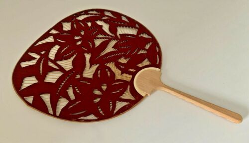 Japanese Uchiwa Flat Fan Die Cut Paper Hand Held Bamboo Handle Made in Japan