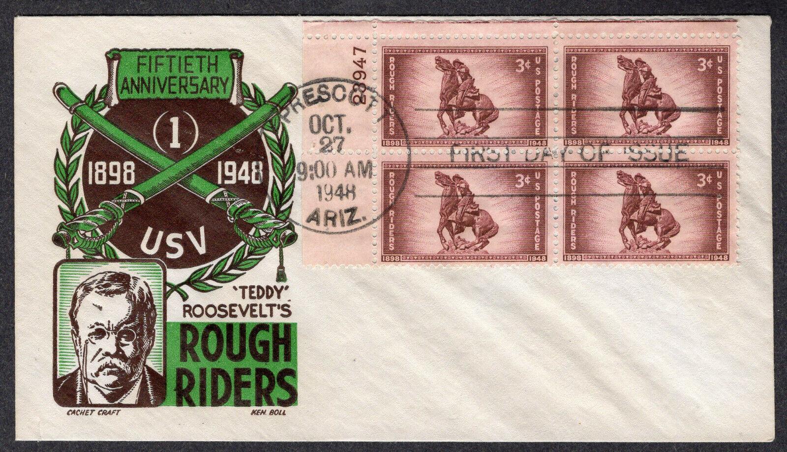 1948 Rough Riders 50th Scott 973 Blk/4 - Boll 2-Color Cachet Craft FDC QF868 - $2.95
