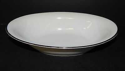 Noritake Silverdale White Coupe Platinum Trim Footed Vegetable Serving Bowl 5594 - Platinum Trim Coupe