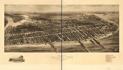 A4 Reprint of American Cities Towns States Map Atlantic City Nj