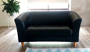 2 seater black leather lounge
