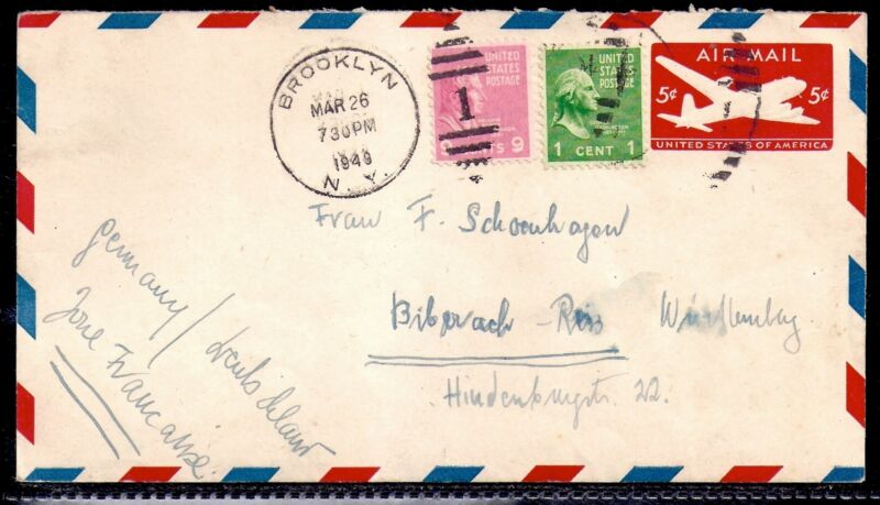 1949 Airmail - Brooklyn, New York to Biberach, Germany (French Zone)