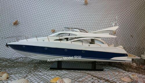 """Sunseeker Manhattan 64 Model Yacht 35"""" Handcrafted Wooden Ship Model NEW"""