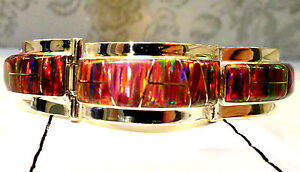 WIDE-Men-Lady-RED-Glowing-Fire-Opal-Linked-Bracelet-8-Large-Sterling-Silver-925