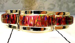 WIDE-Men-Lady-RED-Glowing-Fire-Opal-Linked-Bracelet-8-Large-Sterling-Silver-925