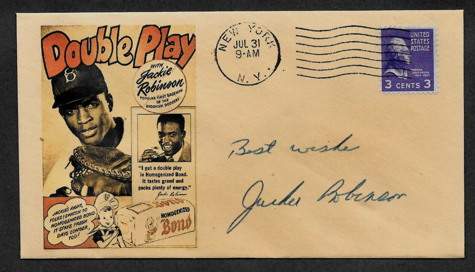Jackie robinson bond bread ad featured on ltd. edt. collector's envelope op922