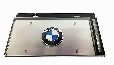 Genuine BMW Satin Stainless Steel Roundel License Plate Frame 82121470312