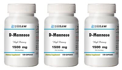 D-Mannose 1500mg/500mg High Potency 1/2/3 BIG Bottles 120/240/360 Capsules D-mannose 500 Mg Capsule