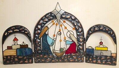 Stained Glass Nativity (J C Penny Stained Glass Christmas Home Collection Nativity Screen)