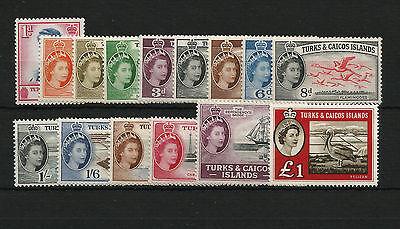 Turks & Caicos Islands 1957-60 set of 15 SG237-253 Fine MNH