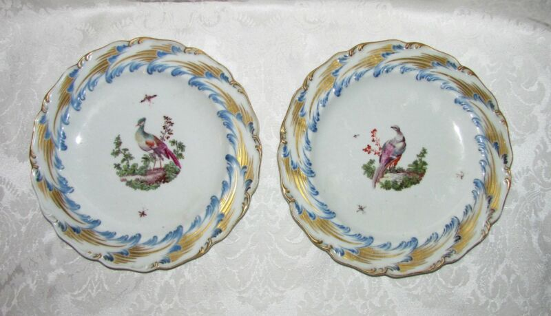 Pair Antique 18th Century Chelsea Porcelain Plates Rare!