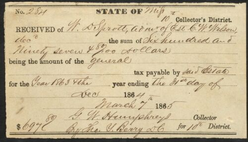 1865 Partly-Printed State of Mississippi Tax Receipt