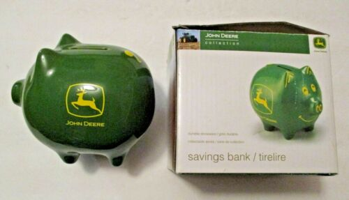 VINTAGE JOHN DEERE STONEWARE GREEN & YELLOW PIGGY PIG COIN BANK
