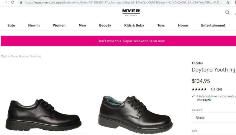 6a2325cf CLARKS Size 5F & 12 F Uniform Unisex School shoes DAYTONA YTH INJ ...